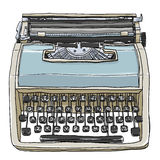 Blue and cream vintage  typewriter cute illustration Stock Photo