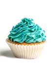 Blue creamed cupcake Royalty Free Stock Images