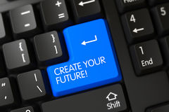 Blue Create Your Future Key on Keyboard. 3D. Create Your Future Concept: Computer Keyboard with Blue Enter Key Background, Selected Focus. 3D Render Royalty Free Stock Photo