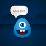 Blue creature with a sign your text Royalty Free Stock Photography