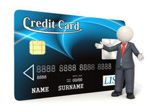 Blue credit card - 3d business man. 3d rendered business man presenting a blue credit card - Concept of shopping with credit cards - Image on white background Royalty Free Stock Photos