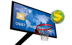 Blue credit card. Credit card on a basketball with a dollar sign in a green 3d chrome sphere Royalty Free Stock Photos