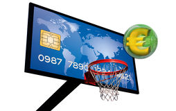 Blue credit card. Credit card on a basketball panel with a euro 3d in a green chrome sphere Stock Image