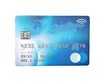 Blue credit card 3d render flat front view Stock Images