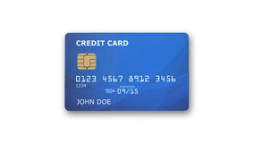 Blue credit card with microchip  on white Royalty Free Stock Images
