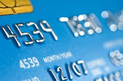 Blue credit card numbers Stock Photo