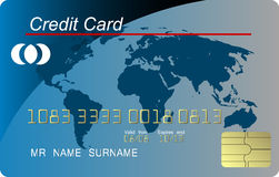 Blue credit card vecto Stock Photos