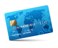 Blue credit card. On white background Royalty Free Stock Image
