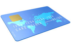 Blue credit card with world map Stock Photos