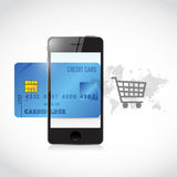 blue credit cart phone shopping concept Royalty Free Stock Photos