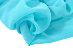 Blue crepe de chine fabric Royalty Free Stock Images