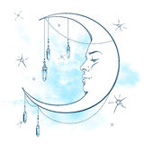 Blue crescent moon with moonstone pendants and stars vector illustration Royalty Free Stock Image