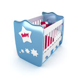 Blue crib isolated 3D Royalty Free Stock Photos