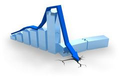 Blue crisis chart. With arrow dropped into crack Royalty Free Stock Photos