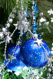 Blue cristmas balls on fir-tree Royalty Free Stock Images
