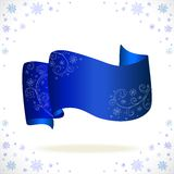 Blue cristmas tape with freezing pattern. And snowflake Royalty Free Stock Photos