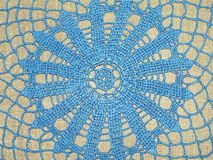 Blue crochet. Doily for background Royalty Free Stock Photo