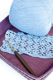 Crochet, yarn and crochet hook Stock Image