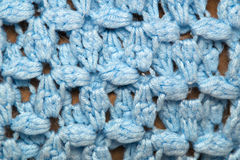Blue crocheted afghan blanket detail Royalty Free Stock Image