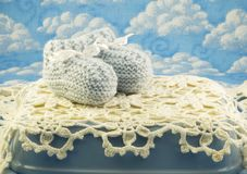 Blue Crocheted Baby Booties Royalty Free Stock Photography
