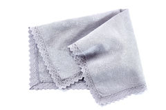 Blue crocheted napkin on white Royalty Free Stock Photos