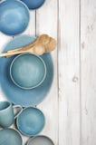 Blue crockery on white wood Stock Image