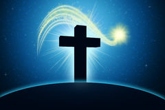 Blue Cross. Inspirational and spiritual image with cross and shooting star Stock Photo