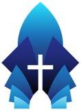 Blue Cross. Vector illustration of blue cross symbol, emblem of Christianity Royalty Free Stock Photo