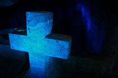 Blue Cross. A blue salt cross in the salt cathedral in Zipaquira, Colombia Stock Image
