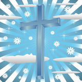 Blue cross. Abstract colorful background with blue cross among clouds Stock Photography