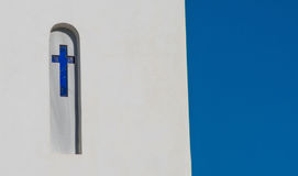 Blue cross on a Greek Orthodox church Stock Photography