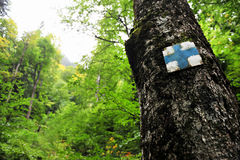 Blue cross hiking and trekking symbol Stock Photos