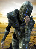 Blue cross knight in a bad day Stock Images