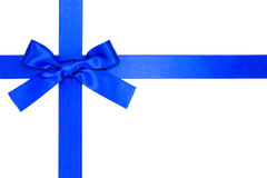 Blue cross ribbon with bow. Isolated on white Stock Photos