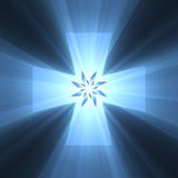 Blue cross symbol bright light flare Royalty Free Stock Image