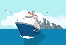 Blue cruise liner swimming in the ocean, stock illustration