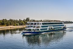 Free Blue Crusier For Turists On The River Nile Royalty Free Stock Photography - 138186777