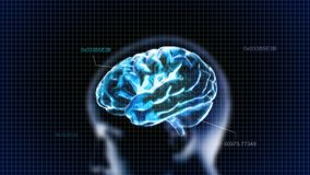 Blue crystal brain with head and code Stock Photos