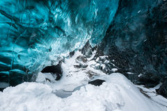 Blue crystal clear ice inside the ice cave, Vatnajokull glacier, Iceland stock photo