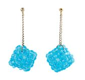 Blue crystal cluster earrings Royalty Free Stock Photos