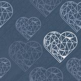 Blue crystal diamond hearts on dark blue. Messy border hearts blue crystal diamond shaped elements on dark blue background love romantic valentines day seamless Royalty Free Illustration
