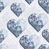 Blue crystal diamond hearts on light gray. Messy hearts blue crystal diamond shaped elements on light gray background love romantic valentines day seamless Stock Illustration