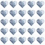 Blue crystal diamond hearts in rows on white. Blue crystal diamond hearts in rows regular elements on white background love romantic valentines day seamless Stock Illustration