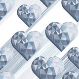 Blue crystal diamond hearts on white. Messy hearts with shadow blue crystal diamond shaped elements on white background love romantic valentines day seamless Stock Illustration