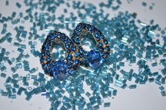 Blue crystal earrings Royalty Free Stock Photography
