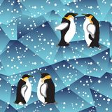 Blue crystal ice background texture with penguin Stock Photo