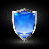 Blue crystal shield in chrome Stock Photos