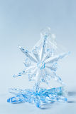 Blue crystal snowflake decoration Royalty Free Stock Images