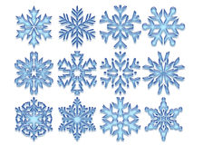 Blue Crystal Snowflakes. Graphic illustration of different patterns of blue crystal snowflakes Royalty Free Stock Photography
