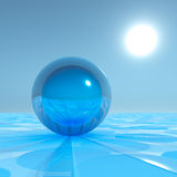 Blue Crystal Sphere On Surreal Horizon Stock Photography